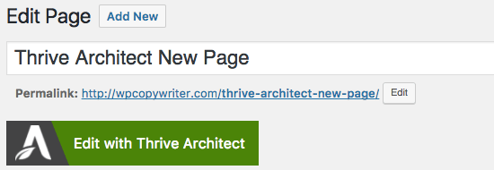 thrive architect review new page
