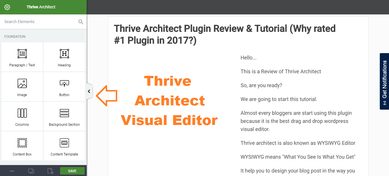 thrive architect visual editor