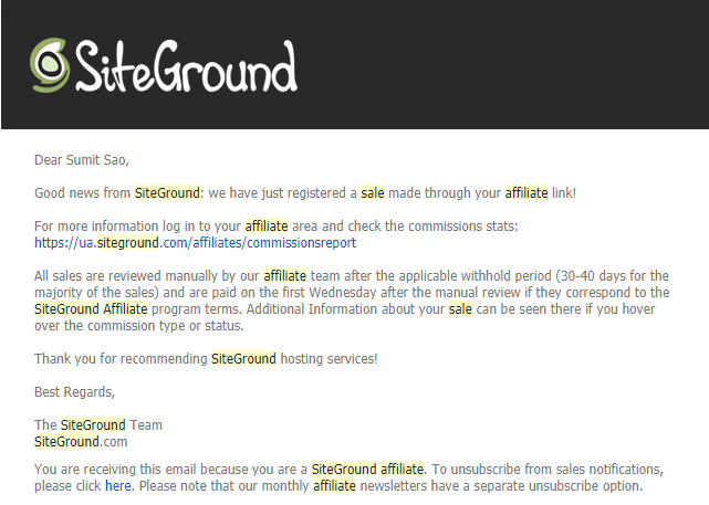 siteground-email-about-affiliate-sale-generated