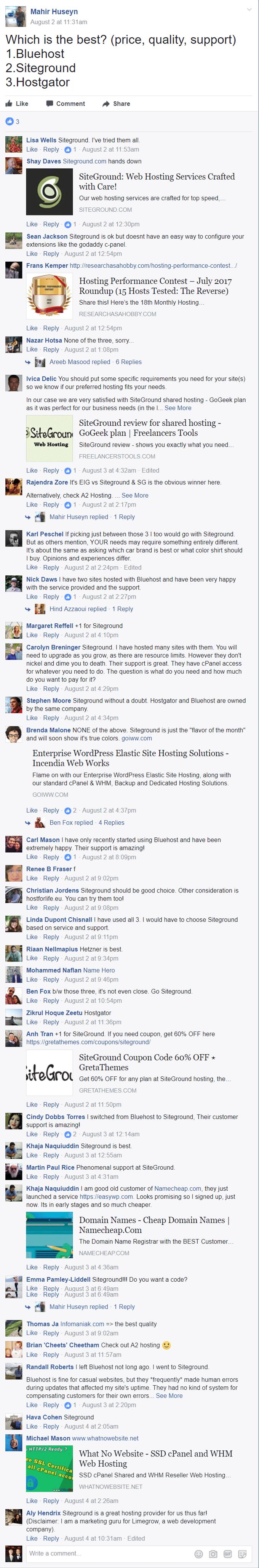 siteground vs bluehost facebook thread result latest