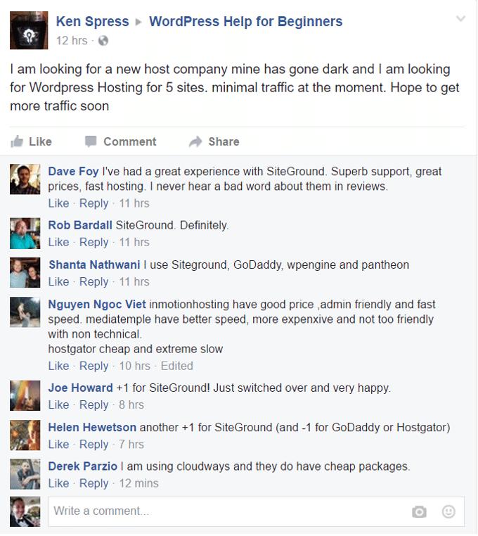 siteground vs bluehost facebook thread result