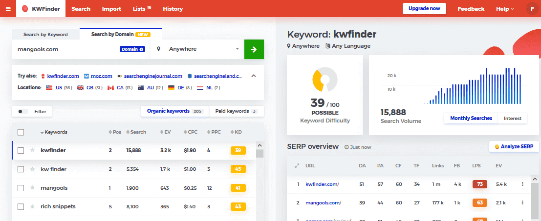 kwfinder keyword research