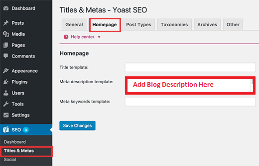 add blog description using Yoast SEO in WordPress