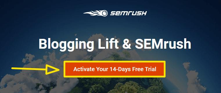semrush free trial landing page