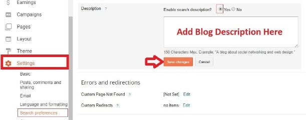 write blog description on blogspot