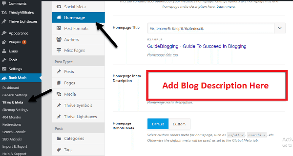write blog  description using rankmath plugin