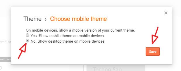change setting of blogger mobile version