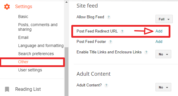blogger post feed redirect url
