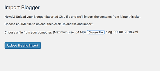 import blogger file