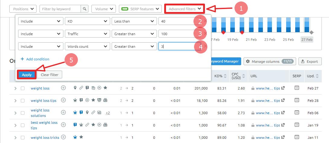 apply filter in SEMRush tool