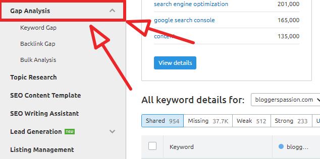 semrush gap analysis tool