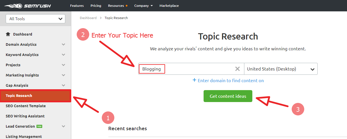 semrush topical research toolkit