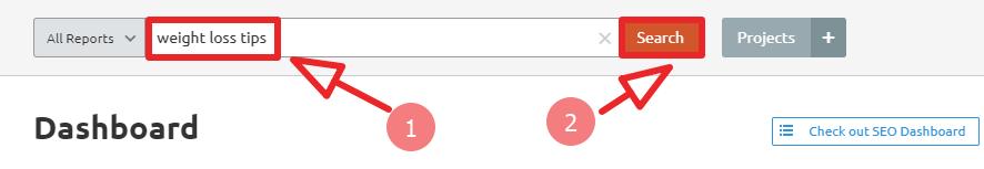 enter target keyword on SEMRush