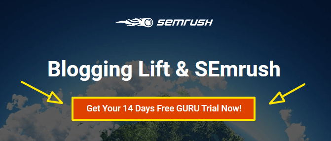 semrush guru free trial page