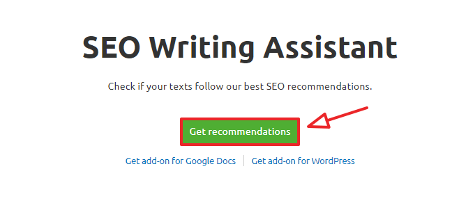 semrush seo writing assistant on site step 1