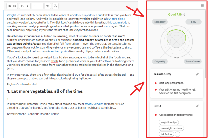 semrush seo writing assistant on site step 3
