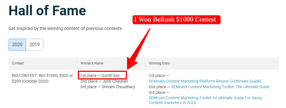 berush 1000 dollar contest winner sumit sao blogging lift