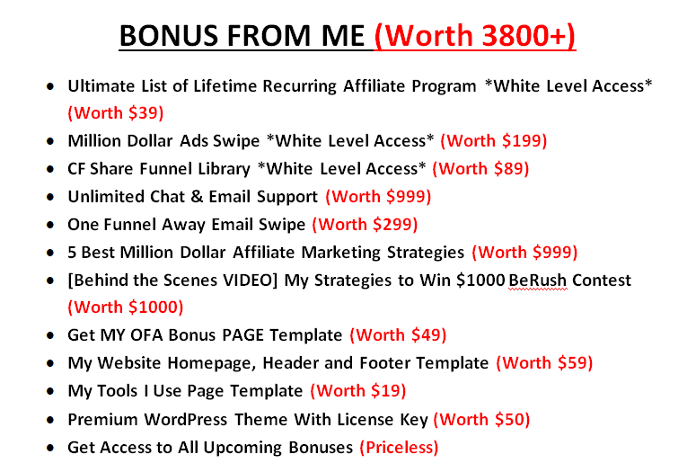 one funnel away challenge bonuses from Sumit Sao Blogging Lift
