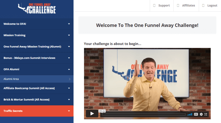one funnel away challenge review about its dashboard