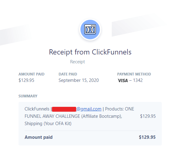 one funnel away challenge invoice receipt