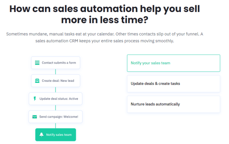 activecampaign sales automations and crm features
