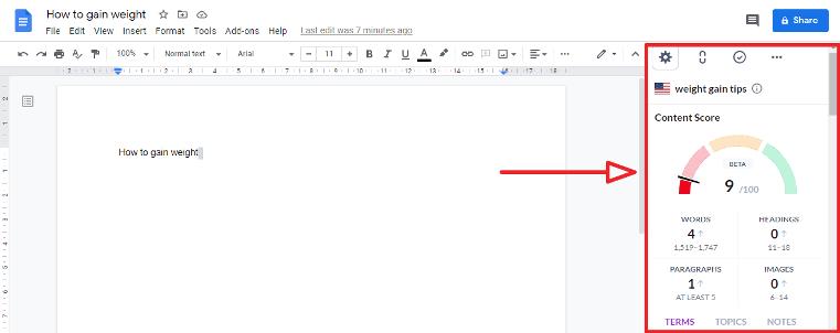 surfer seo google docs chrome extension editor