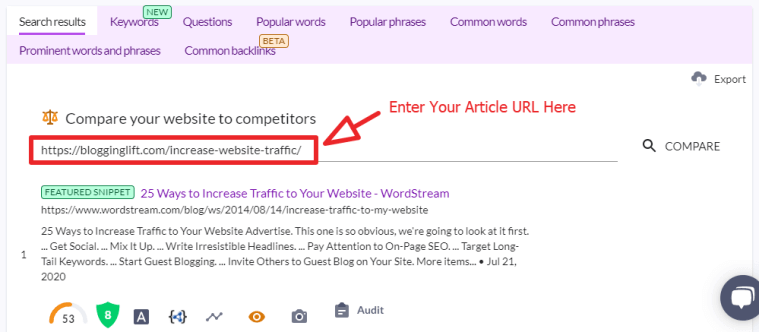 surfer seo serp analyzer compare your article