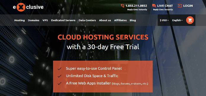 exclusive hosting free trial no credit card required