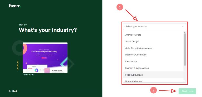 fiverr website creation step 2 choose industry