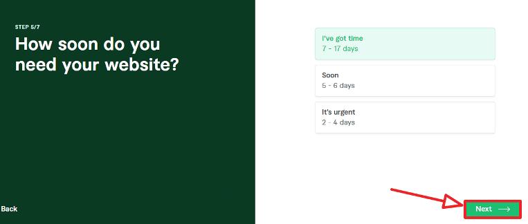 fiverr website creation step 5 time