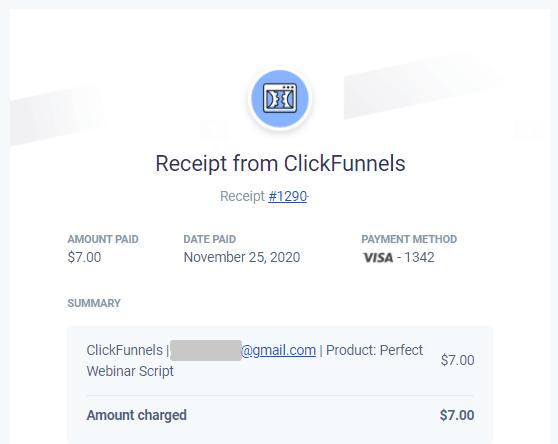 clickfunnels perfect webinar script receipt