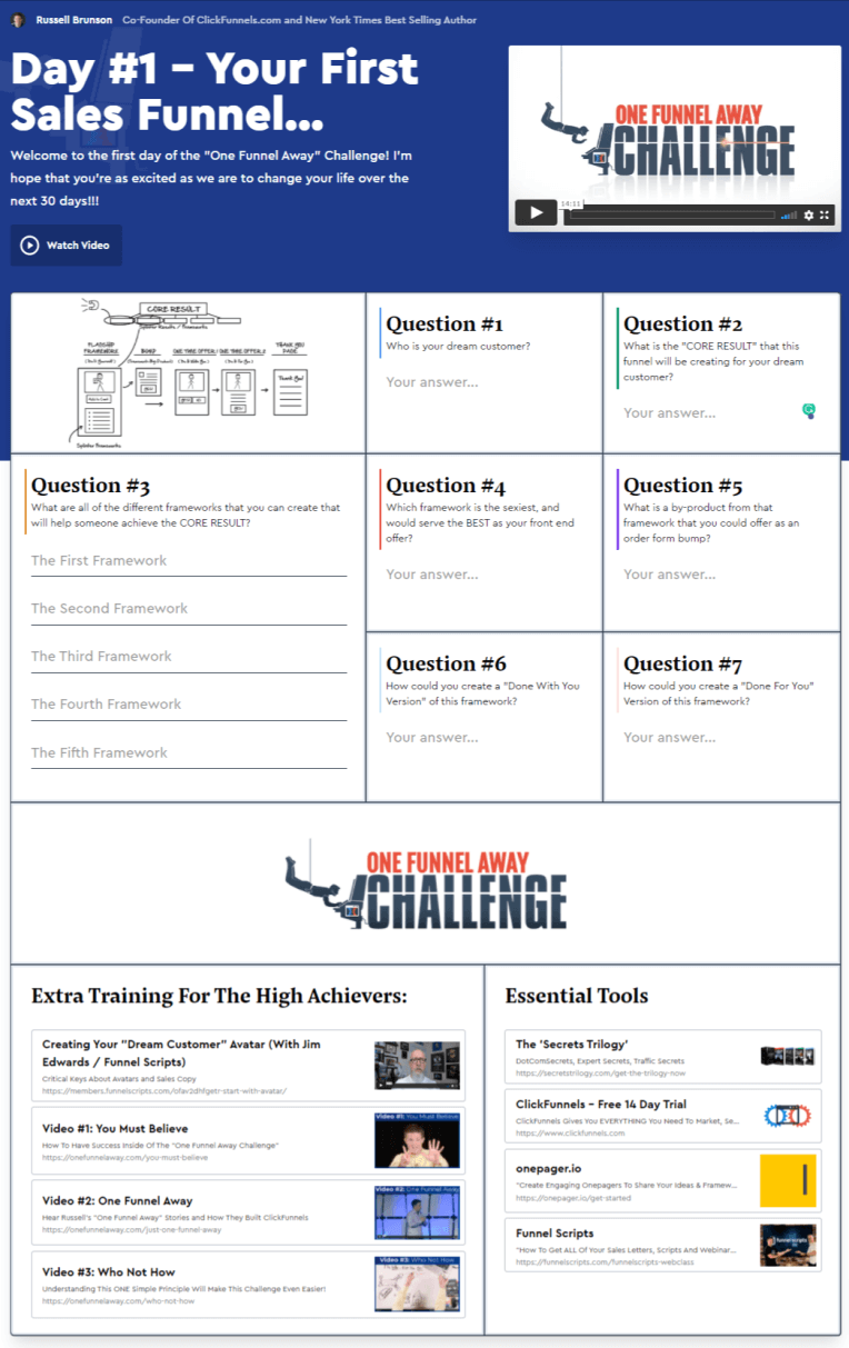 clickfunnels one funnel away challenge 2.0 one pager