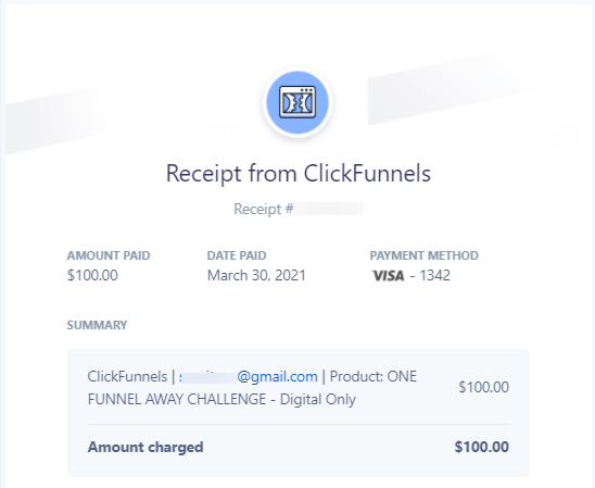 new one funnel away challenge 2.0 receipt