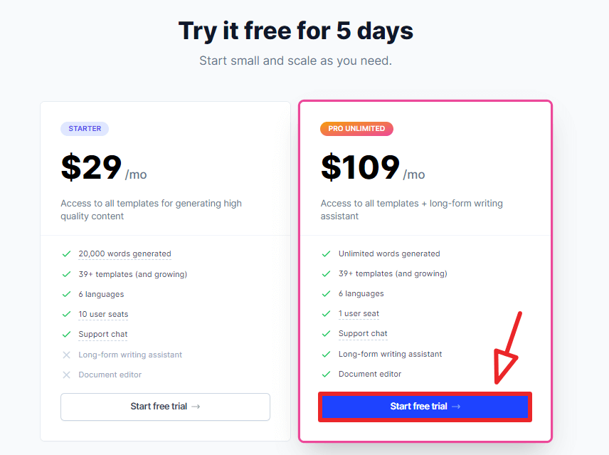 conversion.ai 5-days free trial step 6 pricing