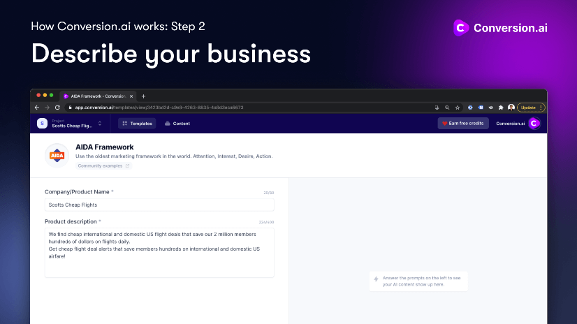 step 2 describe your business in conversion ai