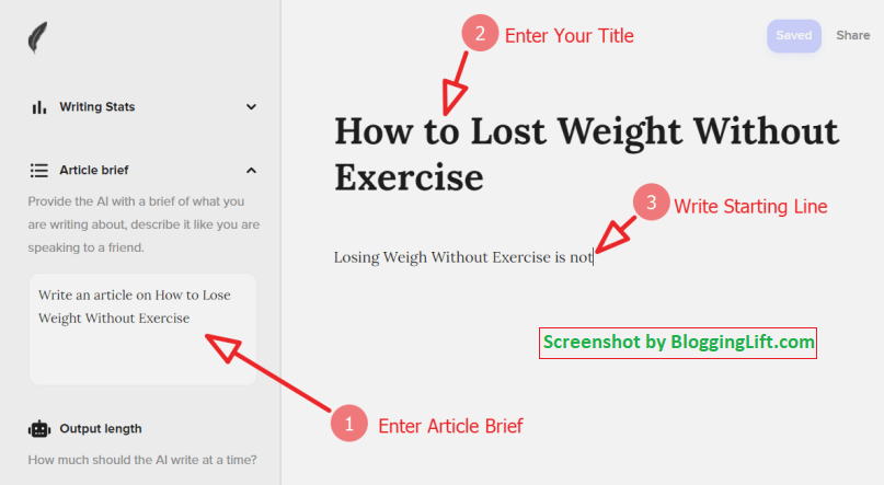 shortlyai add title article brief and starting line of paragraph