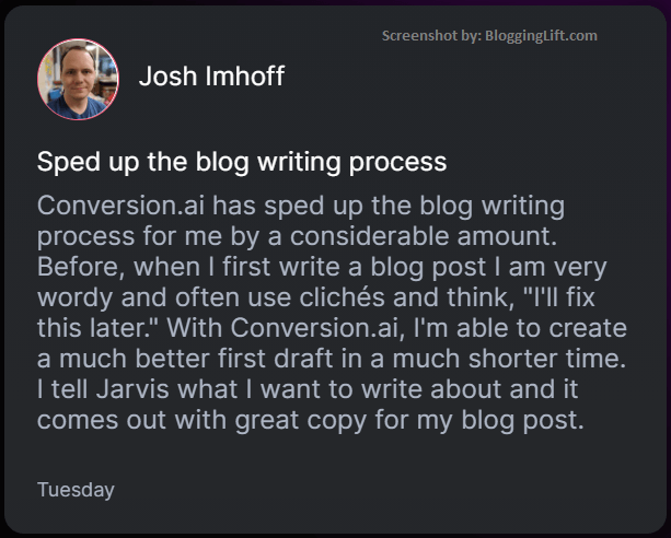 speed up blog writing process conversion ai customer review
