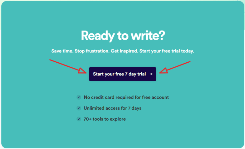 copy ai free trial page click on the trial button