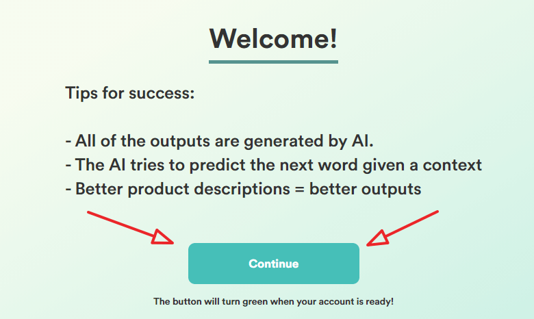 copy ai trial welcome page