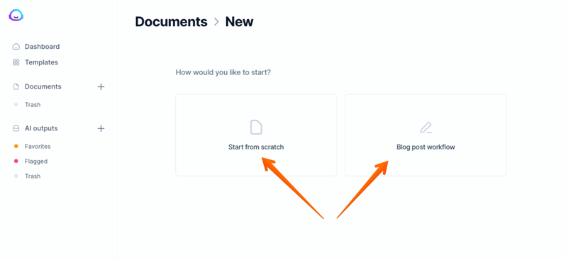 create a new document in jarvis ai conversion.ai