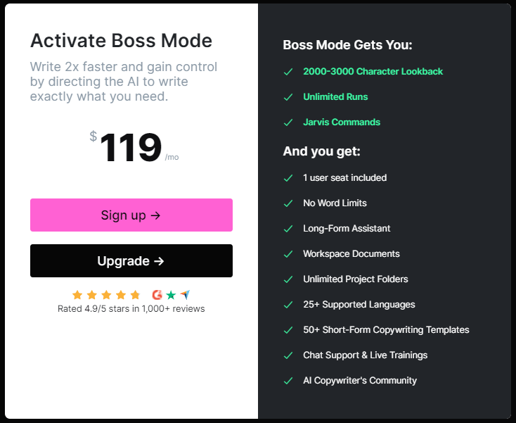jarvis ai boss mode pricing and free trial