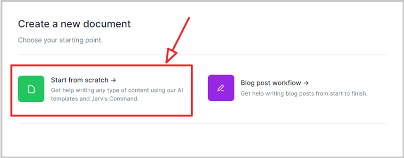 click on start from scratch to write blog post using jarvis boss mode