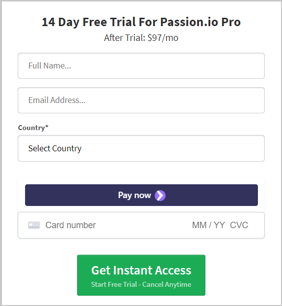 step 3 fill personal and credit card details to activate passion io 14 days trial